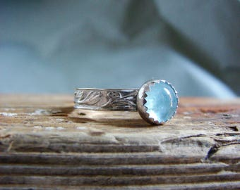 Aquamarine Ring Sterling Silver Ring Gemstone Ring Gifts for her Birthstone Jewelry Cabochon Ring