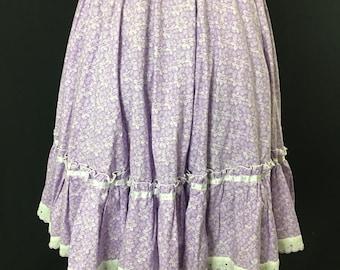 Vintage Purple Boho Skirt Ultra Violet Midi Skirt Ruffled Prairie Skirt 70s Square Dance Lavender Floral with White Lace Cotton Skirt
