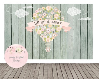 Digital Pastel Hot Air Balloon Theme Baby Shower/Birthday Sweet Table Backdrop, Up Up & Away Theme Baby Shower/Birthday, Buffet Table