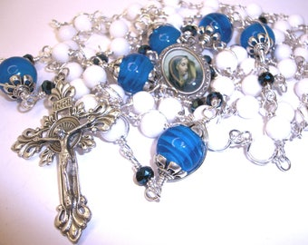 Catholic rosary, Sorrowful Mary rosary, white jade rosary with royal blue Our Fathers, Abundant Grace, wire wrapped,