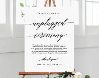 3 Sizes Unplugged Ceremony Wedding Sign - Editable PDF Template Instant Download - Modern Script #MSC