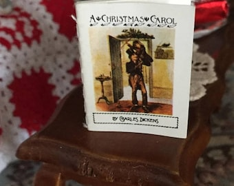 "SALE Miniature Book, ""A Christmas Carol"", Antique Repro Readable Book with Illustrations, Dollhouse Miniature, 1:12 Scale, Mini Book with Te"