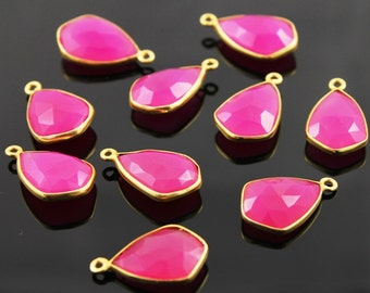 Fuschia Hot Pink Chalcedony Bezel Fancy Shape Gemstone Component,Gold Vermeil, ,  12x17mm, 1 Piece, (BZC7549)