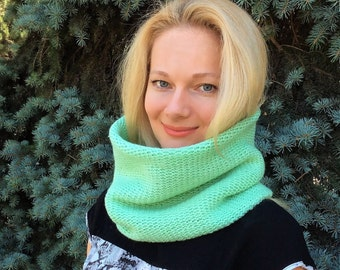Hand knit scarf hood cowl scarf mint green color wool scarf neck warmer knit infinity scarf knit snood hooded scarf cowl hood