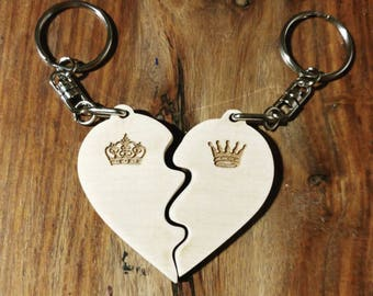 His and Hers Love Heart keyring// King and Queen//keychain