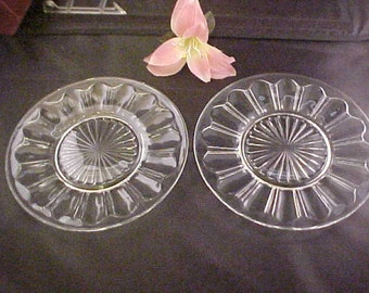 "1930s Hocking Clear Colonial 8 1/4"" Luncheon Plates (2) aka Knife and Fork Pattern, Crystal Depression Glass Salad or Dessert Plates"
