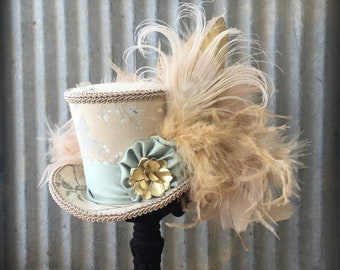 Mini Top Hat, Beige and green Hat, Gala hat, Bridal Mini Top hat, Alice in Wonderland, Mad Hatter TEa Party, TEa Hat, Small mini