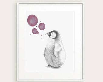 Penguin.Nursery Decor.Baby Penguin. Baby Animal. Nursery Art. Baby's Room Decor. Animal Drawing. Kid's Wall Art. Kid's Decor. Baby Art