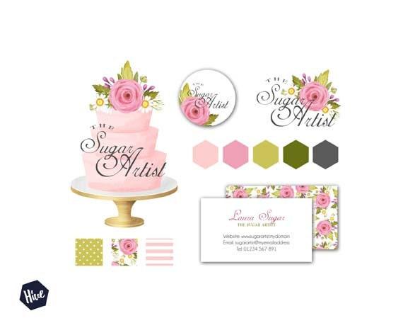 Tiered wedding cake logo watercolor cake logo business zoom junglespirit Gallery