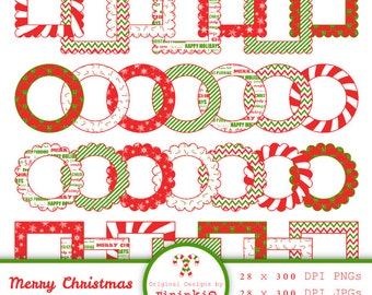 Christmas Digital Frames - Scalloped Frames - Christmas Printable Labels - Instant Download - Scrapbooking - png / jpg - Commercial Use