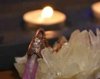 Natural angel aura necklace | Angel aura crystal necklace | Violet angel aura jewelry | Violet aura quartz necklace