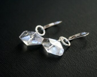 Sterling Silver and Crystal Quartz earrings - Large Quartz Nugget - Clear Quartz - dangle earring