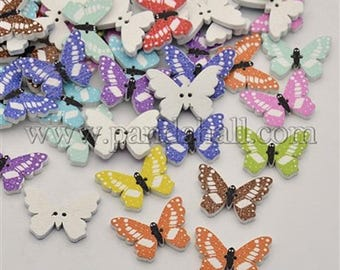 button wood 22mm Butterfly pattern