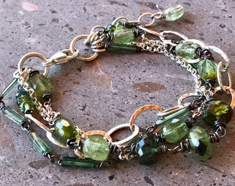 Multistrand Green Tourmaline Bracelet, Blue Green Tourmaline and Sterling Silver Bracelet, Adjustable Chain Bracelet, Indicolite Tourmaline
