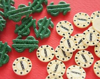 8 pcs Dollar Mark and Casino Coin Cabochons DR456 (((LAST/ NO restock)))