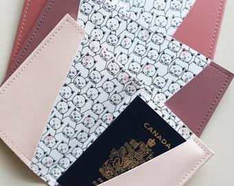 Cat passport holder, passport case, vinyl passport holder with cotton liner, faux leather passport holder