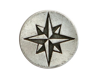 2 Compass Rose Star 11/16 inch ( 18 mm ) Pewter Metal Buttons Antique Silver Color