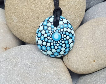 Turquoise Painted Necklace - Paint Rock - Mandala Rock - Dot Jewelry - Mandala Art - Hand-Painted Pendant Stone - Chakra