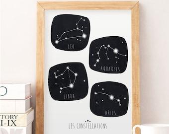Constellations nursery, Nursery print, Kids room decor, Constellations art, Ursa minor print, Ursa major print, Wall decor, Black and white