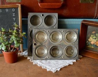 2 Vintage Half Dozen Mini Muffin Metal Tin Small Cupcake Pan Kitchen Decor