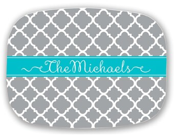 Personalized Melamine Platter, Monogram Serving Platter, Monogrammed Tray, Choose your Colors - Wedding or Hostess Gift - Mother of Groom