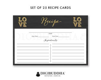 Set of 25 Recipe Cards Double Sided Pack of 25 Recipe Cards 4x6 Recipe Card Printed  Package of 25  Blank Recipe Cards- Jaleesa