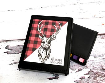 Post-it style sticky note set, post-it box, red checkered deer, teaching gift, illustration Les Bonheurs d'Amélie