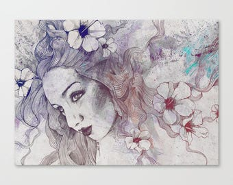 Wrapped canvas print Flower girl portrait Artistic print Street art Floral wall art Digital drawing Figurative drawing Female figure