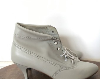 Vintage  Grey Leather Lace Up Ankle Booties with Heel - womens 10