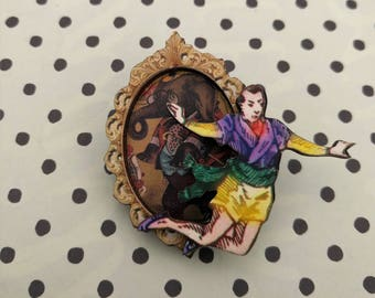 Circus Brooch, Wooden Performer Brooch, Circus Illustration, Altered Art, Mixed Media, Wood Jewelry