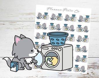 Wolf Planner Stickers // Laundry // Housework // Chores // 010