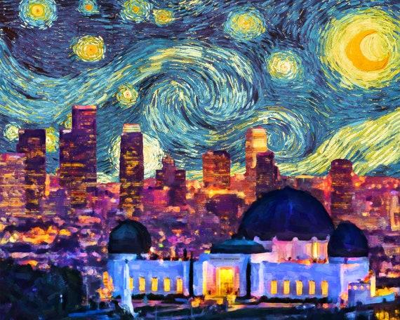 Los Angeles Skyline Poster Van Gogh Starry Night Print Decor