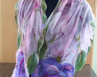 Nuno felted scarf / wrap made of hand dyed silk gauze and super soft merino wool