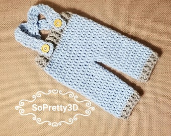 Newborn Crocheted Gray/Blue Overalls! Sizing for premies-0 months old! FREE SHIPPING!