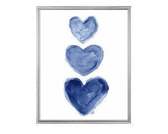 Indigo Watercolor Heart Art Print 8x10, Nautical Nursery Art, Navy Blue Coastal Art, Navy Blue Art, Midnight Blue Decor, Blue Wall Decor,