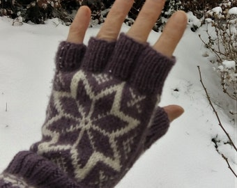 Norwegian gloves, half finger gloves hand knitted in alpaca  and wool