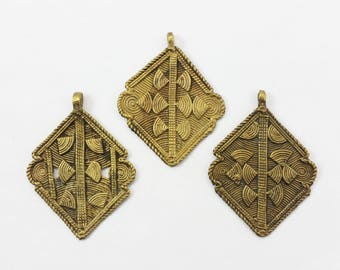 x1 Vintage Large Tribal African Lost Wax Cast Baule Bronze/Brass Pendant Bead - Antique Africa Jewelry -