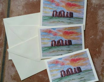 Stonehenge greetingcards 3rd Set watercolorpainting print