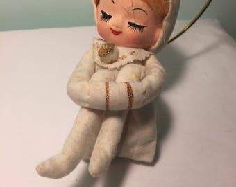 Vintage pixie girl elf - Vintage Knee hugger girl - Pretty girl pixie - Pixie in White - Kitschy Girl Pixie - Kitschmas - Vintage Christmas