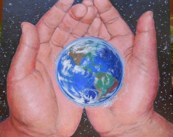 Earth, Child Hands, Stars, Love, Bliss, Happiness Photo of Acrylic Painting