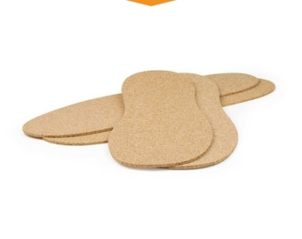 Natural Cork Insoles - 100% Natural Cork, Sizes 1 to 14, Shoe Inserts