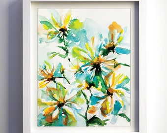 Abstract Daisies Original Watercolor Giclee Fine Art Print, Watercolor floral art, teal, green, yellow flowers, original watercolor painting