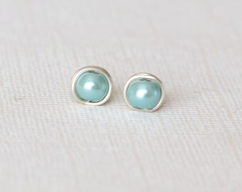 Aqua stud earrings - Minimalist earrings - Post earrings - Gift for women - Wife gift - Boho stud earrings - Aquamarine pearl bead earrings