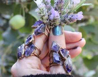 Raw Amethyst Ring Raw Crystal Ring Raw Crystals and Stones Amethyst Crystal Ring Bohemian Ring Raw Stone Ring Amethyst Jewelry Raw Crystals