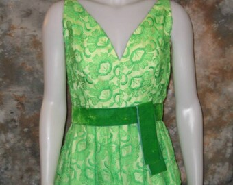 60s Green Floral Dress Holt Renfrew Gown Embroidered Chiffon Bright Green Floral 60s Sleeveless Maxi Bright Green Dress Long Floral Dress