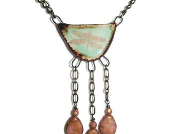 Ceramic Dragonfly Pendant Czech Glass Dangle Dragonfly Pendant OOAK Jewelry N108
