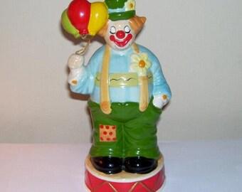 Enesco Clown Music Box Dancer Musical Figurine Vintage