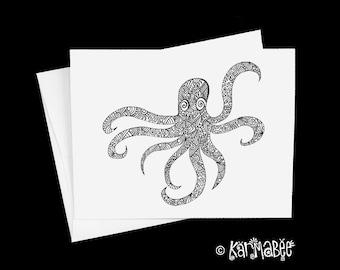 Octopus Notecard Blank Inside