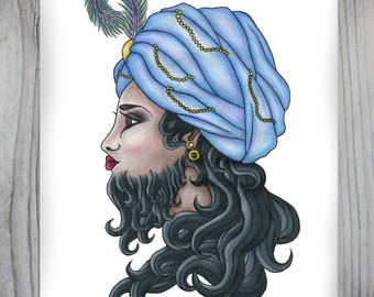 Bearded Lady, Art Print- Free Shipping in US!