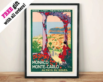 MONACO TRAVEL POSTER: Vintage Monte Carlo Advert Art Print Wall Hanging